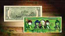 BEATLES GREEN by RENCY Pop Art Colorized $2 Bill U.S. Legal Tender #/70 Banksy