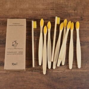 Bamboo Toothbrush Charcoal Activated Natural Eco-Friendly Soft Bristle 10 PCS
