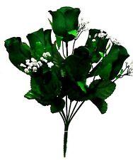 5 Dark Green Soft Artificial Roses Buds Silk Wedding Flowers Bouquet Fake Faux