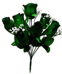 5 Dark Green Soft Artificial Roses Buds Silk Wedding Flowers Bouquet Fake Faux