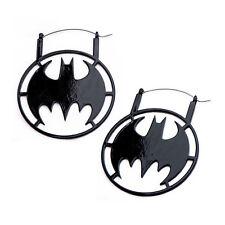 DC Comics Batman Logo Black IP Stainless Steel Hanger Earrings