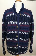 LAURA ASHLEY Vintage 80's Blue 100% New Wool Knit Button Front Collar Cardigan 6