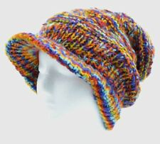 100% WOOL NEPALESE HANDMADE BAGGY RAINBOW WINTER PEAK BEANIE VISOR HAT [RNBOW]