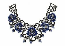 Guipure Lace Black and Blue Floral Collar for Millinery Crowns - 17 Styles