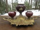 "RARE Antique Art Nouveau 3-Bowl Inkwell with Cherub Cast Iron & Brass 11 1/2"""