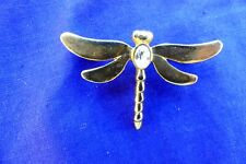 Gold Coloured Dragonfly Brooch with Jewelled Back