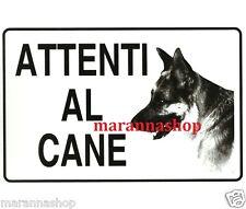 CARTELLO SEGNALETICO TARGA TABELLA PVC ATTENTI AL CANE 20X30