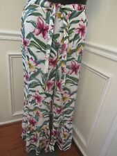 Women's New York Company Stretch Pink White Green Floral Pants Size XL NWT