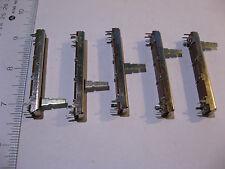 Lot of 5 Dual Slider Fader Potentiometer Alpha B100KX2 100K 1-3/4 in trvl - NOS