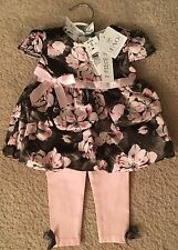 New FAO Schwarz 2 PIECE SET Dress and Pants Baby Girl Size 6 Months, 12 - 17 Lbs