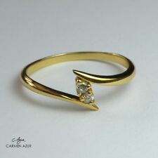 18ct Gold on 925 Sterling Silver Toe Ring, Two Crystals Ladies New with Gift Bag