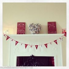 Merry Christmas Wooden Garland Decoration Red White Vintage Shabby Chic Flags