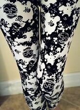 Black and White Skull Leggings Skeletons CrossBones Paint Splatter ONE SIZE OS