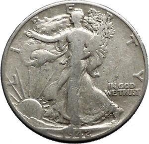1942 WALKING LIBERTY Half Dollar Bald Eagle United States Silver Coin i44672