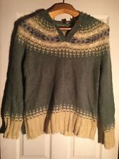 Eddie Bauer - Green - Pull Over Sweater with Hood - Large - Fabric in Desc