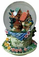 Water Globe Snow Globe Hand Painted Tea Cup Birdhouses Birds Flowers Music Gift
