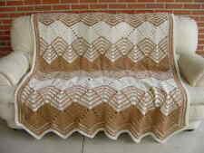 "New Handmade crochet afghan brown and almond bedspread blanket 70""X64"""