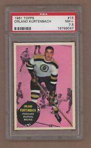 1961-62 Topps Hockey No. 15 Bruins Orland Kurtenbach PSA 7.5 NM+