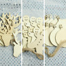 10x Wooden DIY Christmas Decorations Blank Unfinished Xmas Tree Bauble Reindeer