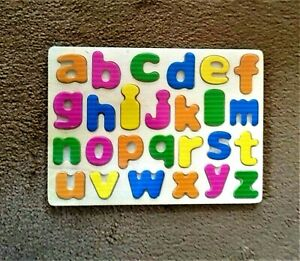 Lower case Wooden Alphabet Puzzle Educational Letters Jigsaw Learn