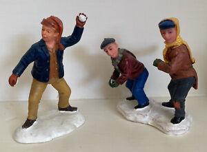 Lemax Christmas Village Figures Boys Having A Snowball Fight Resin