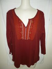 Lucky Brand Cotton Loose Fitting Boho Top Size L NWT