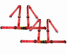 Pair Sports Racing Harness Seat Belt 3 4 Point Fixing Mounting Red Quick Release