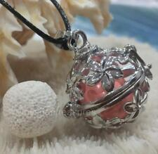 Aromatherapy oil Diffuser Necklace White Lava Stone - Pink Harmony Chime Ball