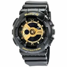 Casio Baby-G BA110-1A Womens Watch Black Resin Gloss Finish Gold Tone Dial NEW