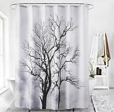 Abstract Stark Tree Winter Farmhouse Waterproof Fabric Shower Curtain + Hooks