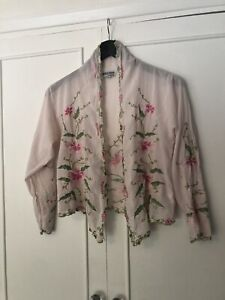 Vintage juliet Dunn M Bolero Cardigan Cropped Indian Cotton Embroidered Jacket M