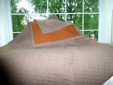 STUDIO J.C. PENNEY HOME King Size DIAMOND Stitch Taupe Orange Reversible QUILT