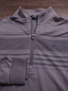 TRAVIS MATHEW Men's 1/2 ZIP Cotton/Poly/Elastine Medium GRAY STRIPED LS Sweater