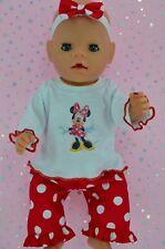 "Play n Wear Doll Clothes 17"" Baby Born POLKA DOT PANTS~TOP~HEADBAND"