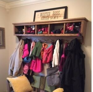 Hallway Storage Cubby Coat Rack Wall Storage with Coat Hooks Large Family Shelf