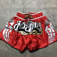 MUAY THAI SHORTS Kickboxing Boxing SHINY High Cut Red GOLD Silver Embroidered XL
