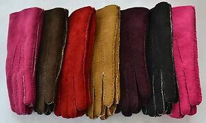 Womens Suede Gloves. Sheepskin lined. Tan, Brown, Black, Red, Pink. Ladies