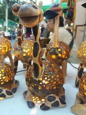 Table Lamp for Decor Giraffe Handmade Coconut Shell Wood