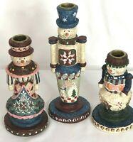 Snowman Family Folk Art Hand-painted Pillar Candle Holder Candlesticks Set of 3