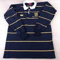 Canterbury navy yellow striped rugby polo shirt men's XS university of Otago