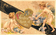 """Valentines Day """"Think of Me"""" Cupids Embossed Winsch Postcard"""