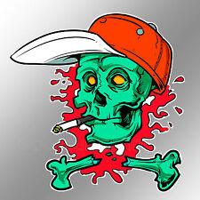 funny car bumper sticker zombie skull with cigarette and baseball cap 96 x 98mm