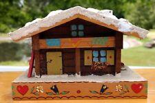 Trick Bank Ski Chalet made in Austria Wood House Vintage Coin Bank Secret Door