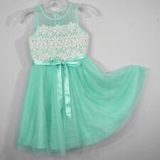 Emily West Ballerina Dress Mint Green Satin and Tulle with White Floral Lace 8