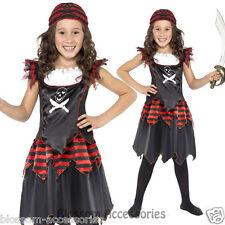 CK443 Pirate Skull Crossbones Caribbean Kids Girls Fancy Dress Book Week Costume