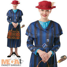 Mary Poppins Returns Ladies Fancy Dress Disney Magic Nanny Adults Costume Outfit