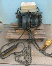 2T DEMAG 3ph Hoist w/Pulley/Hook+Powered Trolley,10' Pendant,25' Chain