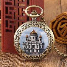 Antique Castle Necklace Pendant Men Women Analog Quartz Pocket Watch Chain Gift