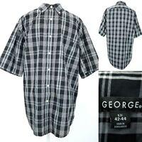 George Mens Large 42/44 Black & White Plaid Button Down Short Sleeve Shirt Top