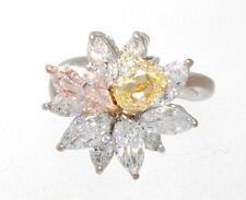 18K WHITE GOLD, PINK DIAMOND, YELLOW DIAMOND & MARQUISE DIAMOND CLUSTER RING GIA